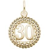 Gold Plate Number 30 Charm by Rembrandt Charms