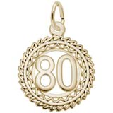 Gold Plate Number 80 Charm by Rembrandt Charms