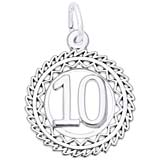 14K White Gold Victory Number 10 Charm