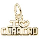 Gold Plate I Love Curacao Charm
