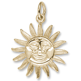 14K Gold Dominica Sun Large Charm