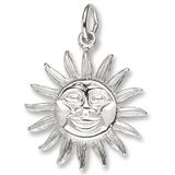 14K White Gold Dominica Sun Large Charm