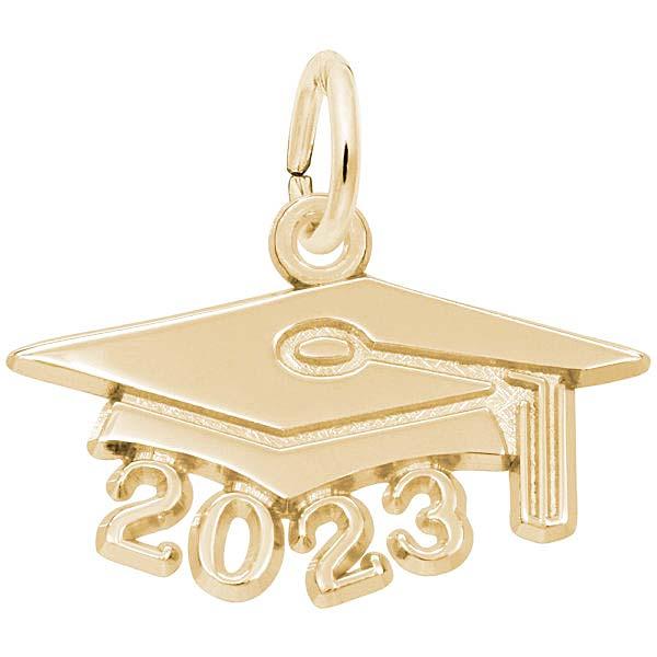 Rembrandt 2023 Grad Cap Large Charm, Gold Plate