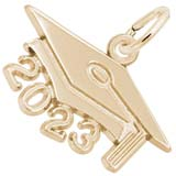 Rembrandt Charms Large Grad Cap 2023 Charm in 14K Gold