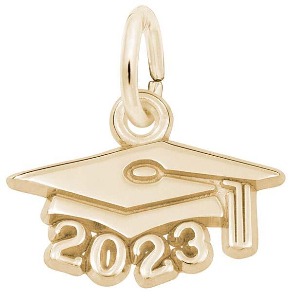 Rembrandt 2023 Graduation Cap Accent Charm, 14K Yellow Gold