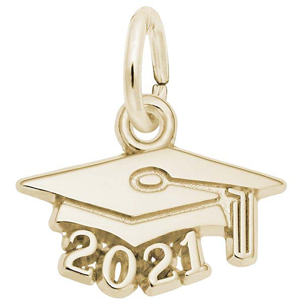 Rembrandt 2021 Graduation Cap Accent Charm, 14K Yellow Gold