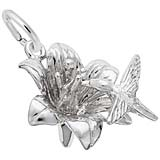 Sterling Silver Hibiscus and Hummingbird Charm by Rembrandt Charms