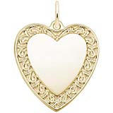 Gold Plate Scrolled Classic Heart Charm by Rembrandt Charms