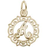 Gold Plate Ornate Script Initial A Charm by Rembrandt Charms