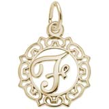 Gold Plate Ornate Script Initial F Charm by Rembrandt Charms