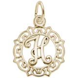 Gold Plate Ornate Script Initial H Charm by Rembrandt Charms