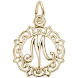 Gold Plate Ornate Script Initial M Charm by Rembrandt Charms
