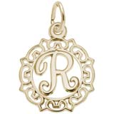 Gold Plate Ornate Script Initial R Charm by Rembrandt Charms