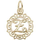 Gold Plate Ornate Script Initial Z Charm by Rembrandt Charms
