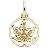 14K Gold Maple Leaf Ring Charm